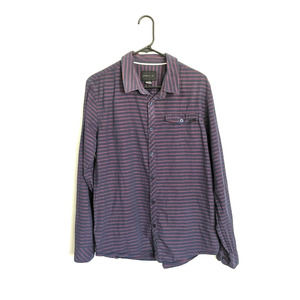 O'Neill Red & Blue Stripe Long Sleeve Button Up Lg